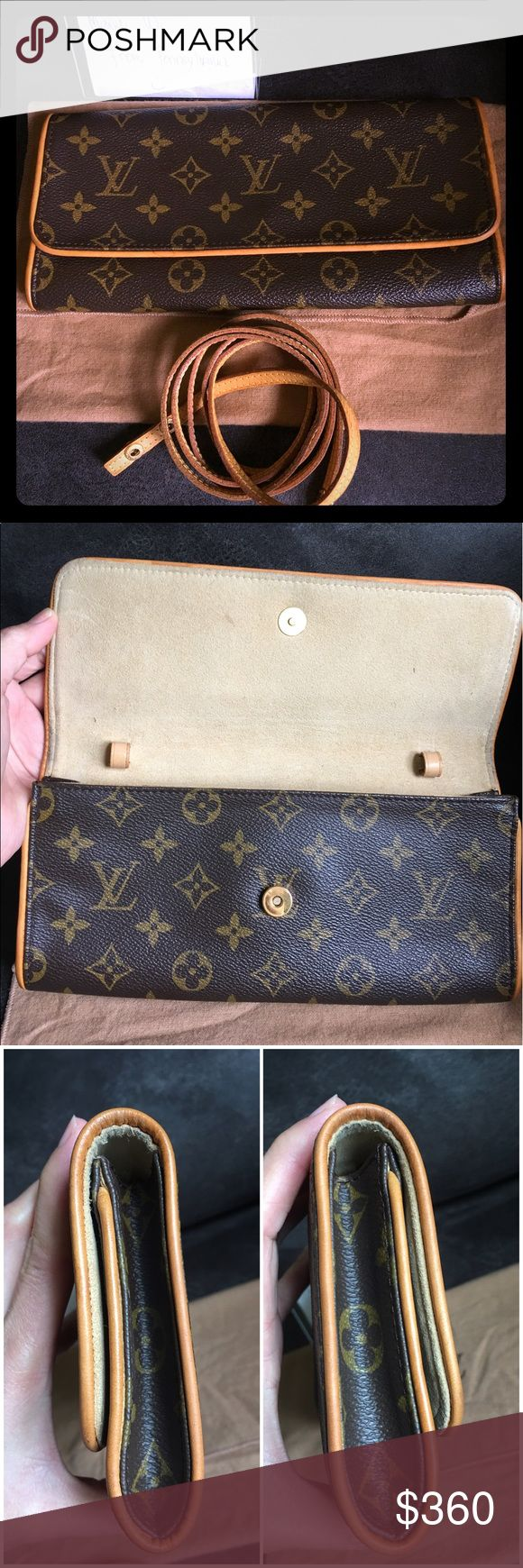 """Twin pochette GM With dustbag only. Normal signs of wear, no water marks in the strap. Inside the bag no foul odor , in the each side inside of the bag has little dirt. One nick on the outside corner. AUTHENTIC LOUIS VUITTON POCHETTE TWIN GM  Pocket(Inside):Pocket*1 Color: Brown Material: Monogram Canvas, Leather Size(inch): W 9.4 × H 4.5 × D 1.2 """" Shoulder (inch): 19.7 """" Size(cm): W 24.0 × H 11.5 × D 3.0 cm Shoulder (cm):50.0 cm Louis Vuitton Bags Crossbody Bags"""