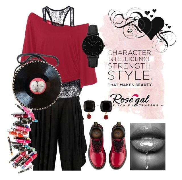 """""""RED AND BLACK"""" by tori-bourret ❤ liked on Polyvore featuring Boohoo, Dr. Martens, Clinique, Les Néréides and CLUSE"""