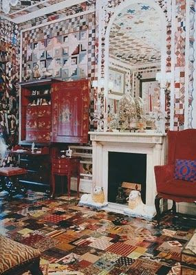 Gloria Vanderbilt's patchwork bedroom, even the floors are lacquered patchwork . Photo by Horst.