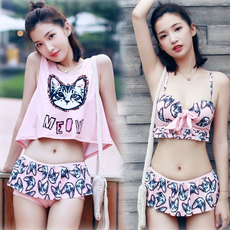 "Cute cat printing bikini three-piece SE9919      Coupon code ""cutekawaii"" for 10% off"