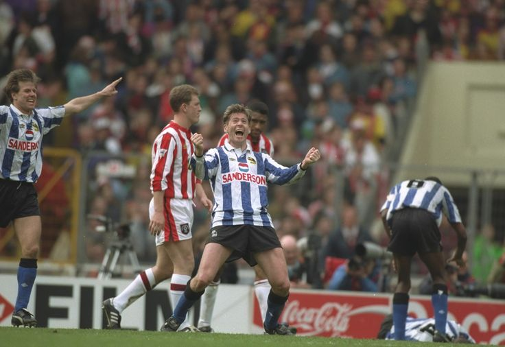 Chris Waddle scores for Sheffield Wednesday FC a magnificent goal in the FA Cup v. Sheffield United FC in  1993