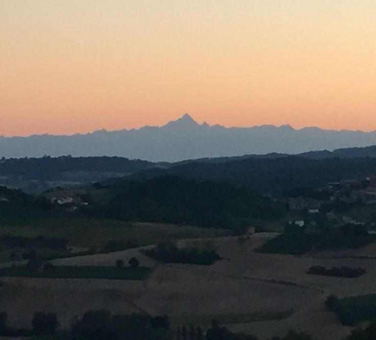 Sunset, Monferrato hills, Monviso mountain, alpes, italy,  View form Treville Monferrato