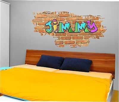 Personalised Graffiti Brick & Name Wall art sticker,decal, Graphic,Bedroom sg42