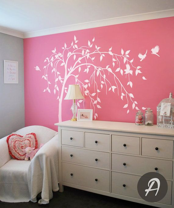 Willow tree decal nursery tree decal white tree wall sticker removable decal for nursery tree and birds wall decal wall mural sticker -AM011