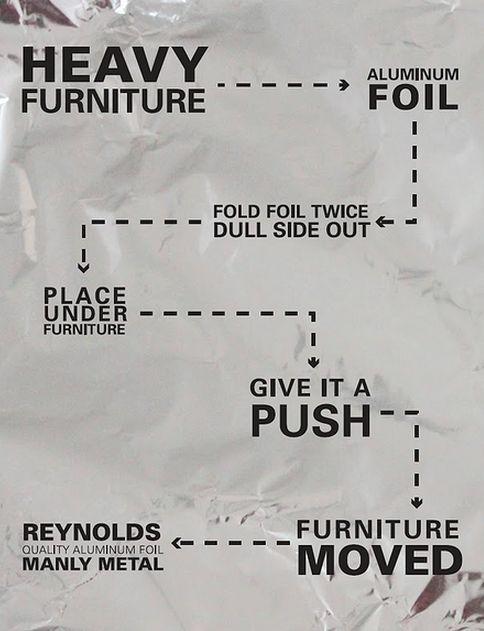 Furniture moving tip - use aluminum foil to glide furniture over floors