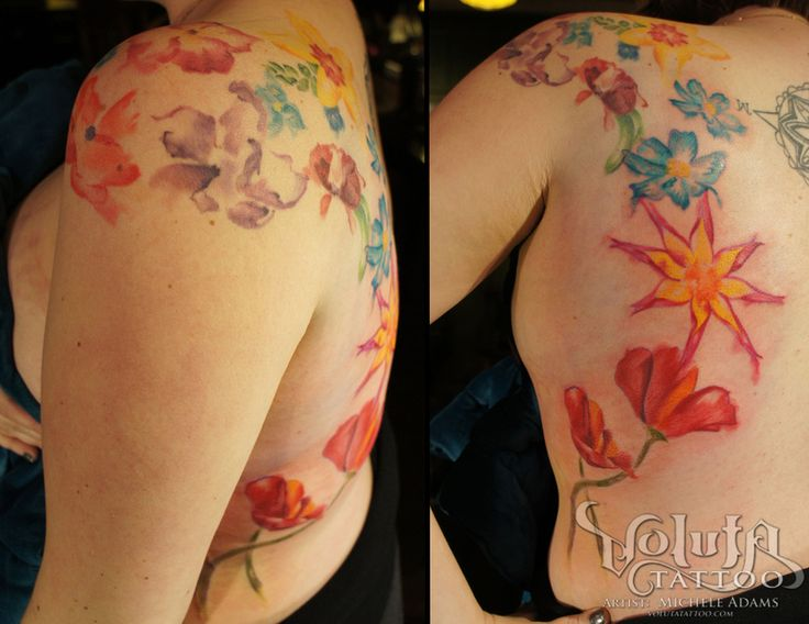Watercolor Abstract Flowers Tattoo
