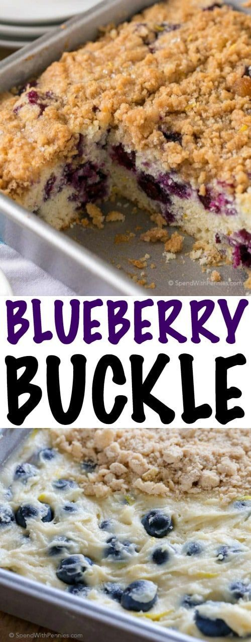 Blueberry Buckle is a deliciously tender lemon kissed cake studded with fresh blueberries and topped with a sweet buttery streusel topping. This old fashioned recipe is a favorite to serve with coffee, tea or for dessert.