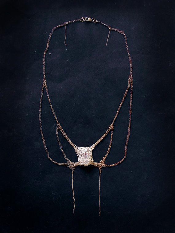 Swallowtail butterfly design silver crochet by PetiteMortShop