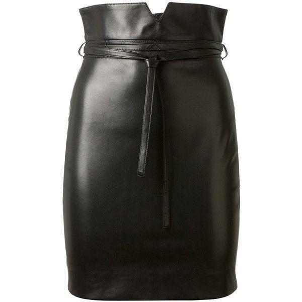 Saint Laurent Black Leather Pencil Skirt found on Polyvore