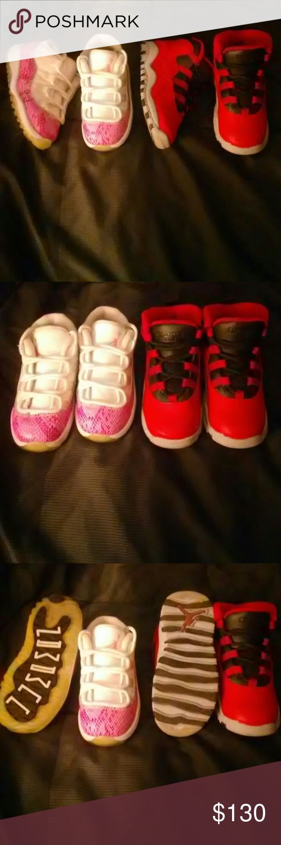 Sizes 8.5c & 8c shoes Jordan Low Retro 11's-pink/white snake skin.. Jordan 10 Retro-Bulls.. Both in like new conditions with one box..on my Ⓜ page,they are only $65 Jordan Shoes Sneakers