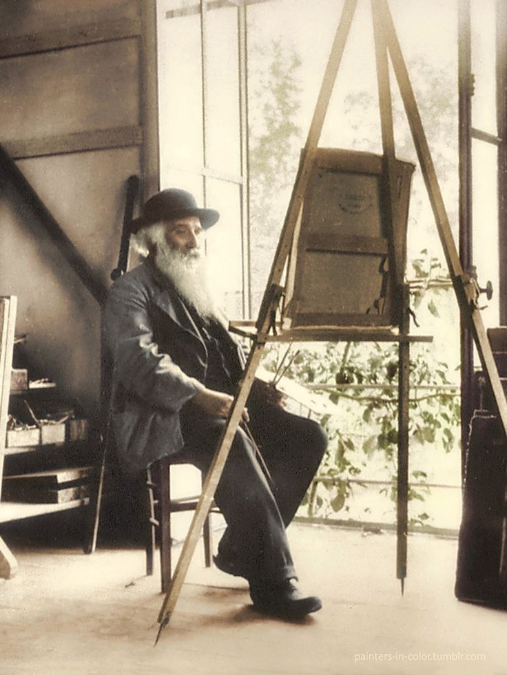 "Camille Pissarro in his studio at Eragny, 1890s. ""Work at the same time on sky, water, branches, ground, keeping everything going on an equal basis... Don't be afraid of putting on colour... Paint generously and unhesitatingly, for it is best not to lose the first impression."""
