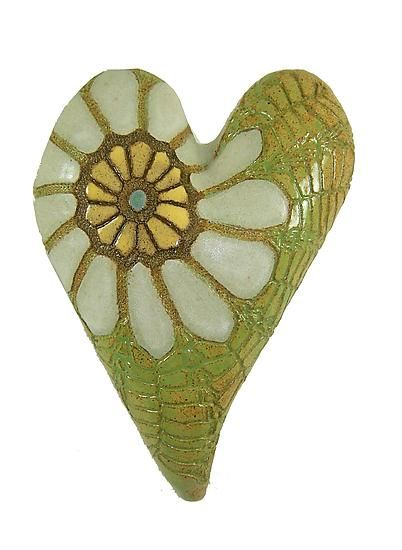 Daisy in Green: Laurie Pollpeter Eskenazi: Ceramic Wall Art - Artful Home
