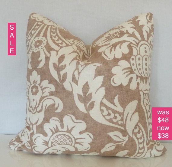 Linenl Pillow - Natural Pillow Cover - Ivory, Natural,Tan,Brown, Floral Decorative Pillow,Throw Pillow,Home Decor