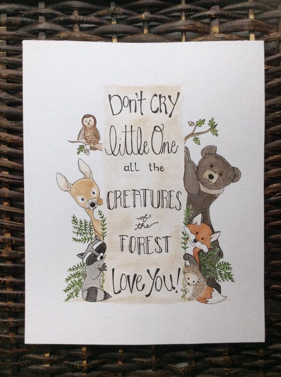 Woodland Creatures Nursery Art Painting by WoodWrenTales on Etsy