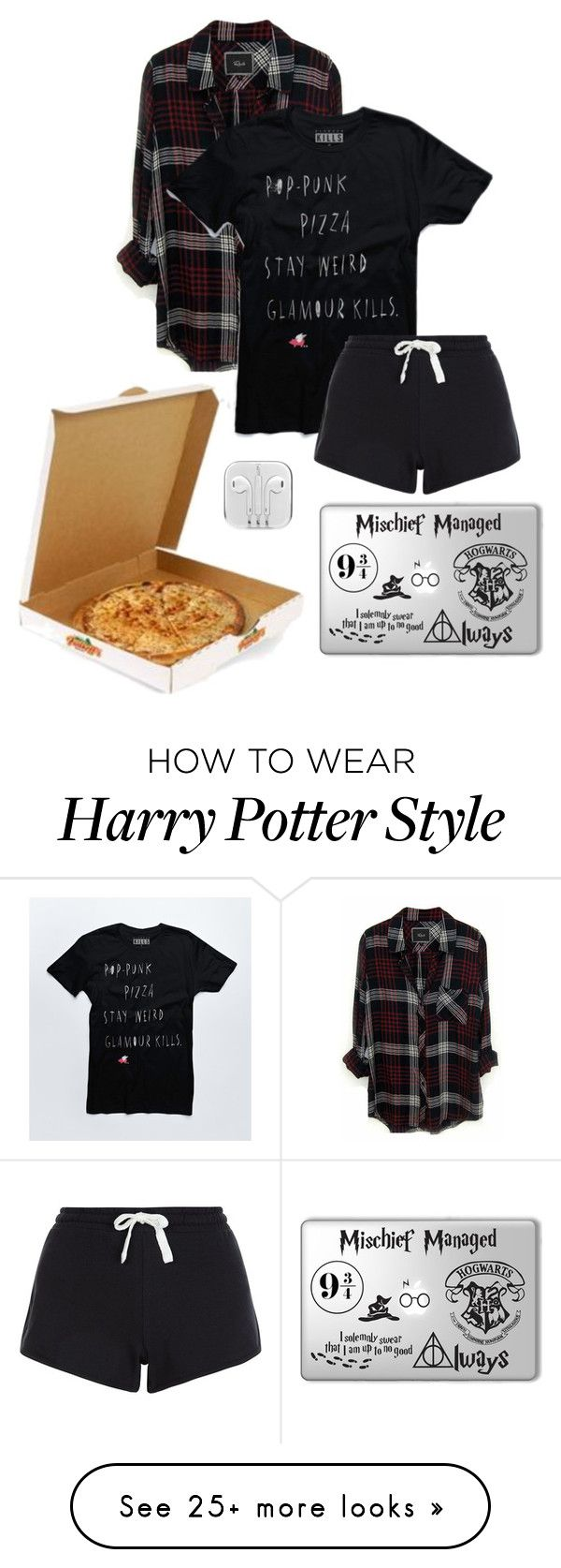 """pop-punk, pizza"" by hufflepuffer732 on Polyvore featuring Rails, women's…"