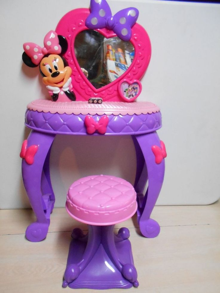 Disney's Talking Minnie Mouse Vanity Set W/Stool For Little Toddler Girl's Toy #Disney
