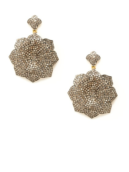 Pave Diamond Concave Flower Drop Earrings by Karma Jewels on Gilt: Jewels Pave, Drop Earrings, Contemporary Jewelry, Flower Drop, Diamond Concave, Diamonds, Concave Flower, Karma Jewels