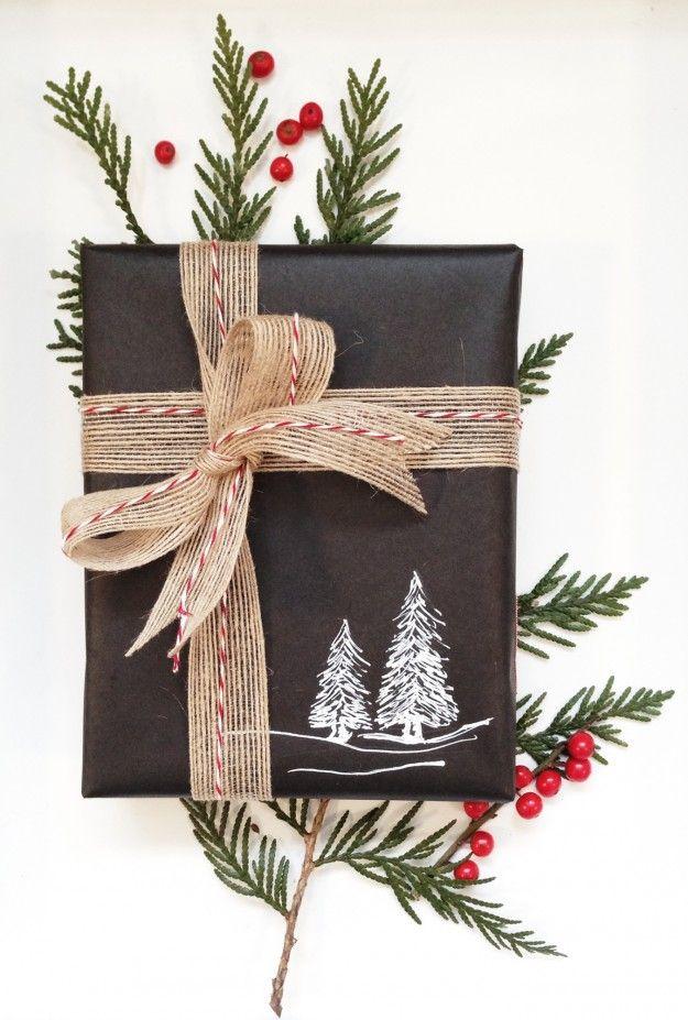 chalkboard wrapping paper - cute idea