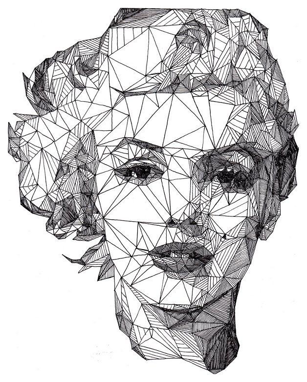 Ilustrações do inglês Josh Bryan são constituídas por centenas de triângulos e podem demorar de 7 a 12 horas para serem finalizados.