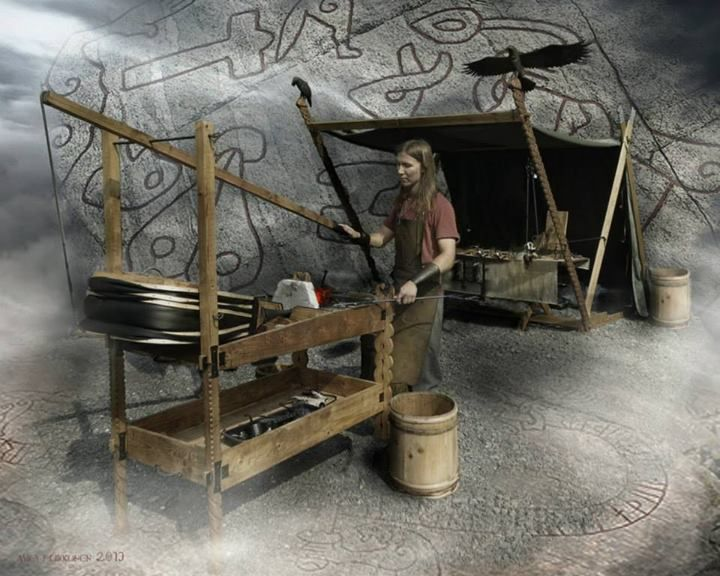 Faravidin Sudet ry. /Wolves of Faravid, This is our blacksmith Varg and his mighty raven tent and anvil.Pic has been made for him to be used in his project. the background is stonecarvings from the sigurds saga from Ramsund, Eskiltuna