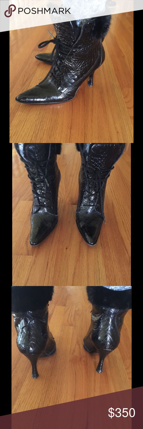 Mauri alligator boots with mink fur trim Black alligator boots with mink fur trim  wore only 3 times very good condition no bag mauri Shoes Ankle Boots & Booties