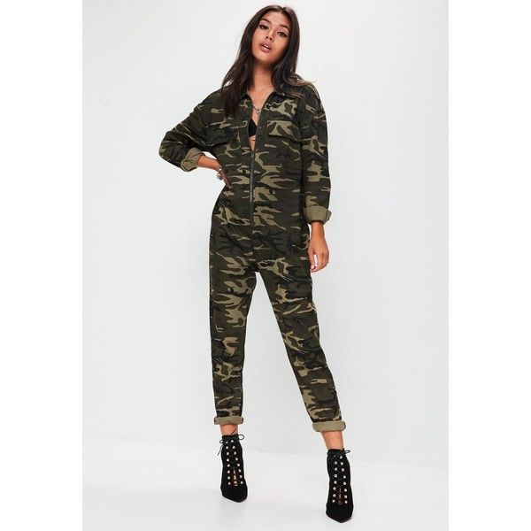 a088ece30d37 Missguided Camo Print Jumpsuit ( 60) ❤ liked on Polyvore featuring jumpsuits