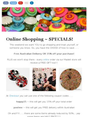 Online Shopping Newsletter - includes coupon codes!
