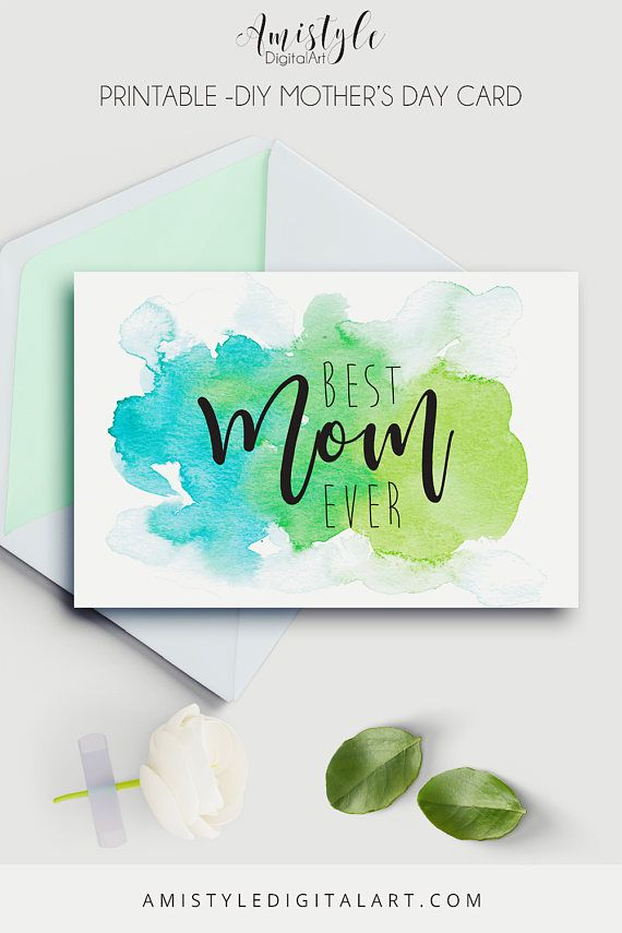 Printable Mother's Day Card on watercolor stain background - by Amistyle Digital Art on Etsy