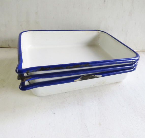 3 X Vintage Cesco Enamelware Photography Trays - white,blue trim, rectangle,6x9 - Storage, Organization Trays, Vintage Photography Supply Super cute vintage chemical trays- hey are stamped on the back Cesco, Photo Trays, Acid Resistant. These would be perfect for your vintage photography collection or even as retro home decor or repurposed into a useful mail bin or drawer organizers or use them on your desk to hold supplies/bills etc.  They have some distressing- see all photos  they are...