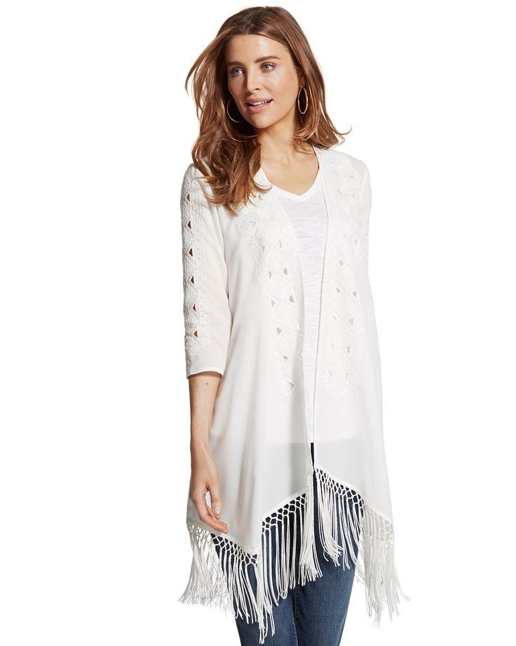 Chicos Womens White Sophisticated Fringe Kimono, Size: 2 (12/14, M)