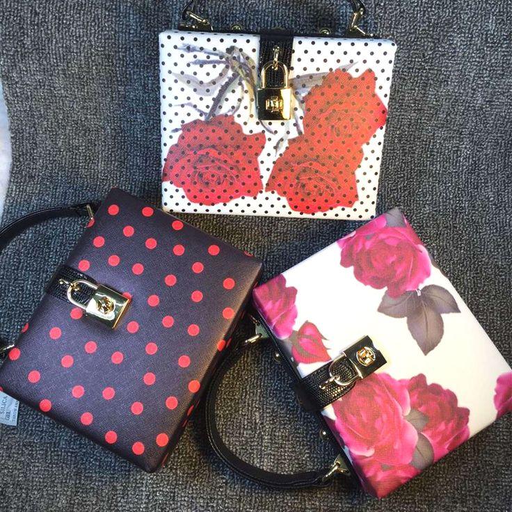 Новый ретро мода роуз шаблон дизайна мода волновой точки пу коробка сумка женская сумочка мини посланник мешок щитка 3 цветов купить на AliExpress
