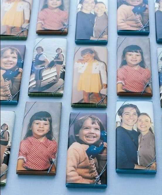 This couple took photos of themselves when they were young and turned them into wrappers for souvenir candy bars. Cute!