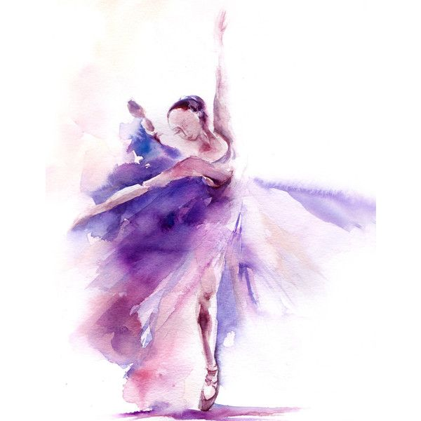 Watercolor Painting Art Print, Ballerina Watercolor Painting, Ballet... (€14) ❤ liked on Polyvore featuring home, home decor, wall art, art, backgrounds, dance, fillers, purple, water color painting and purple wall art