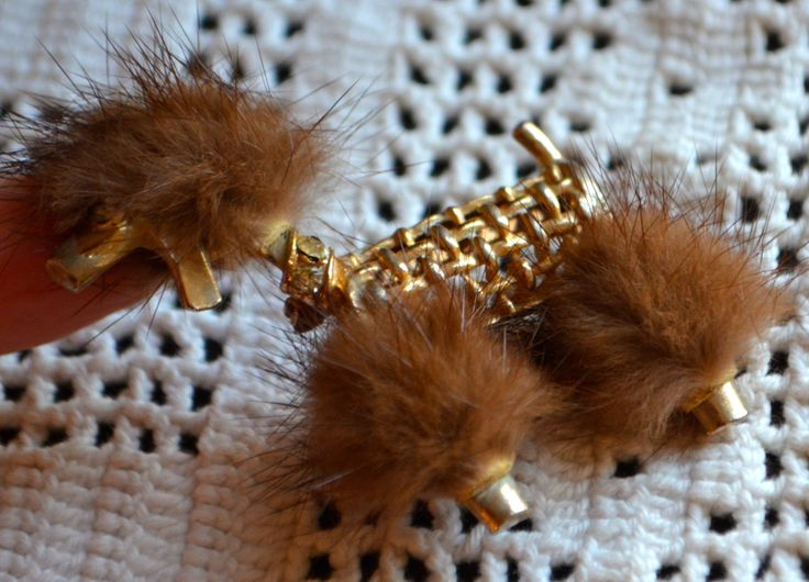 FUR Poodle Brooch Vintage Dog Poodle Brooch Gold Tone  with Real Mink Fur and Rhinestone Eye by StudioVintage on Etsy