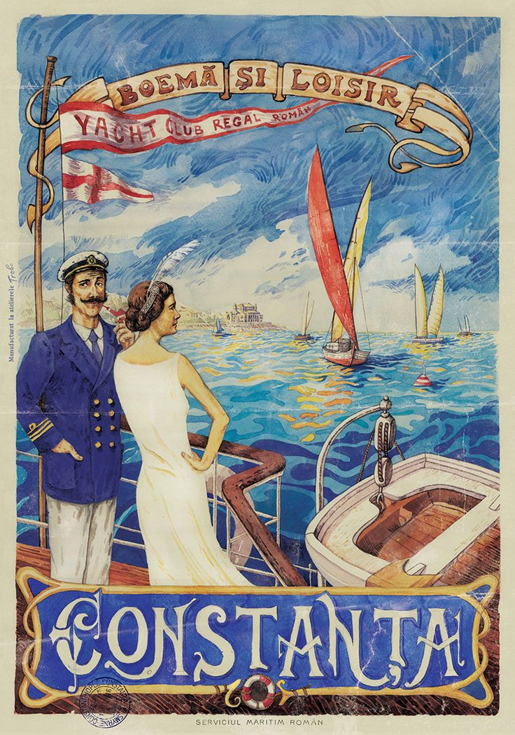 Constanta, Boema si Loisir, Yacht Club Regal Roman, Romanian Vintage Poster.