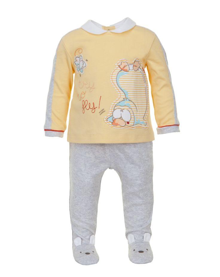 Prenatal - Moda Baby: abbigliamento da 0 ai 30 mesi per il tuo bambino, bimbo, bebè - Completi - Prenatal - Completo giallo e grigio mélange con coprifasce e ghette