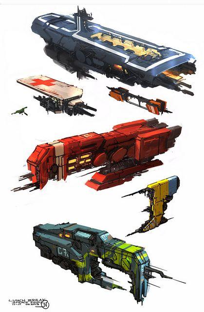 Diseño corelliano de naves. Se favorece la funcionalidad y las formas modulares. Es común que las naves tengan varios puertos de anclaje, plataformas y hangares integrados.