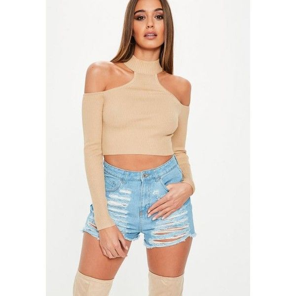 Missguided Brown High Neck Bardot Knitted Crop Top ($34) ❤ liked on Polyvore featuring tops, camel, open shoulder tops, beige top, ribbed crop top, brown crop top and cut shoulder tops