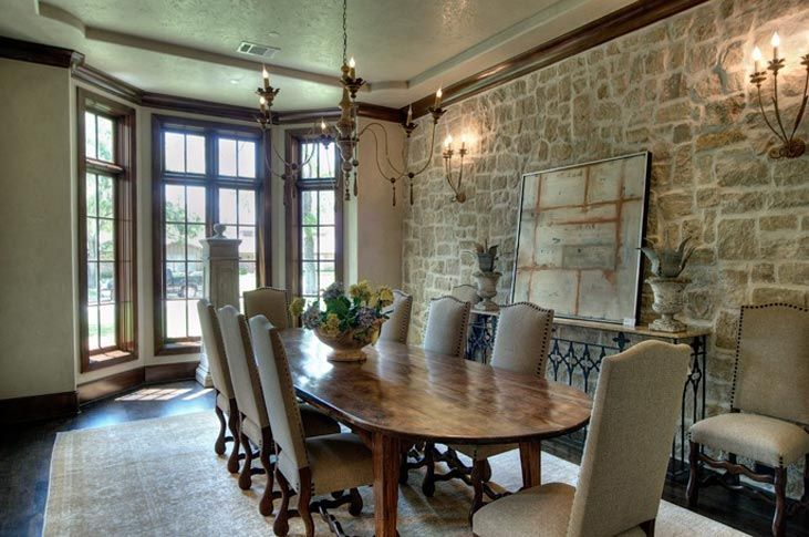 Love the wall in this formal dining room: Dining Rooms, Dreams Houses, Stones Accent Wall, Stones Wall, Stone Walls, Wall Sconces, French Antiques, Design Studios, Bays Window