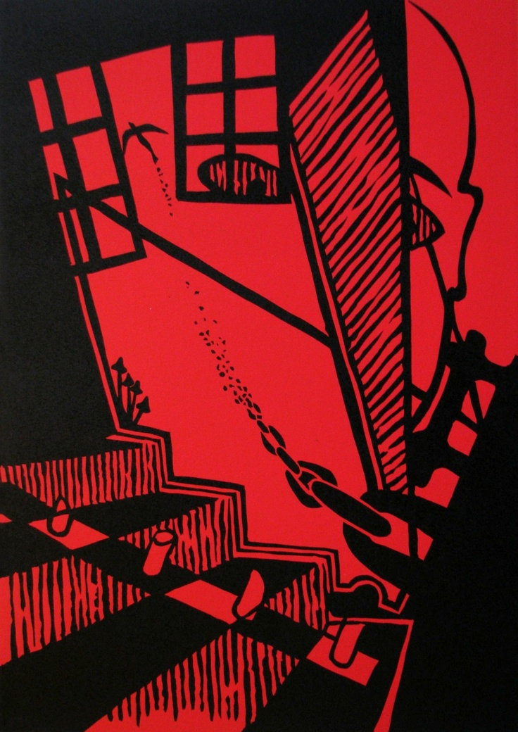 """Reminiscence D"" (from ""Reminiscences of My Inspirations"" series), linocut on paper, 30x42cm, 2011"