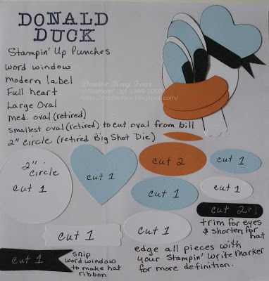 Donald Duck Punch Art | Denise Foor Studio PA  how-to for punch art on blog.  Stampin' Up!
