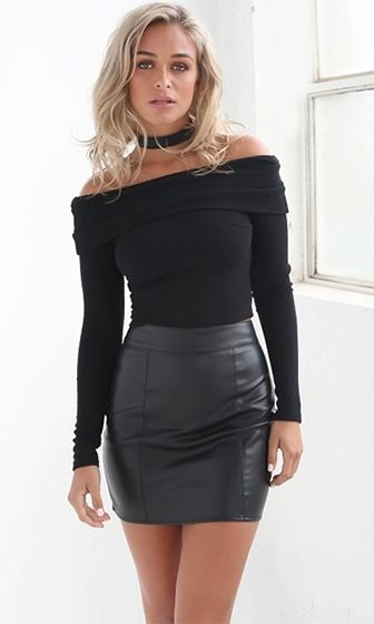 Free To Love Black Long Sleeve Fold Over Off The Shoulder Ribbed Sweater