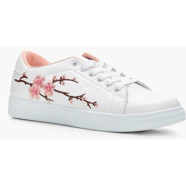 Boohoo Sophie Floral Embroidered Trainer (400.050 IDR) ❤ liked on Polyvore featuring shoes, sneakers, jelly sneakers, summer sneakers, holiday shoes, jelly shoes and evening shoes