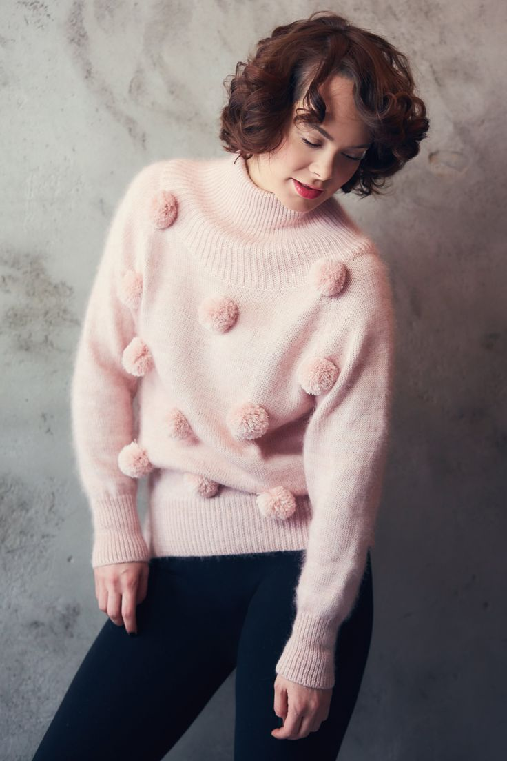 Pink cashmere sweater - Christmas sweater - knit sweater with pompoms - pompom pullover - Romantic womens knitwear - Cashmere winter knit