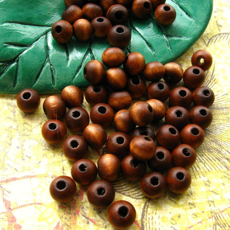 Brown Topaz Tube Barrel Wood Beads Crafts Jewelry Making Vintage 14 x 25 mm