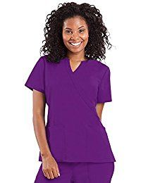 Healing Hands Women's Classic Fit Purple Label 'Jaclyn' Mock Wrap Top - Small - Eggplant -- To view further for this item, visit the image link.