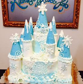 """Frozen"" Castle Cake is made with a 10"" round base cake, the towers are made from ""Ding Dongs"" and Mini Chocolate Covered Donuts. These we..."