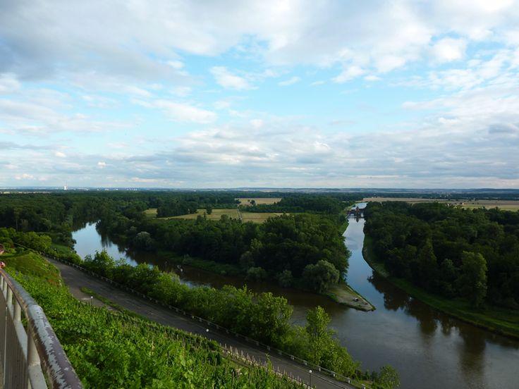 Tchéquie - Mělník - Confluence de l'Elbe (cachée à gauche sous le coteau), de la Moldau (Vlatava) à gauche et du canal en face