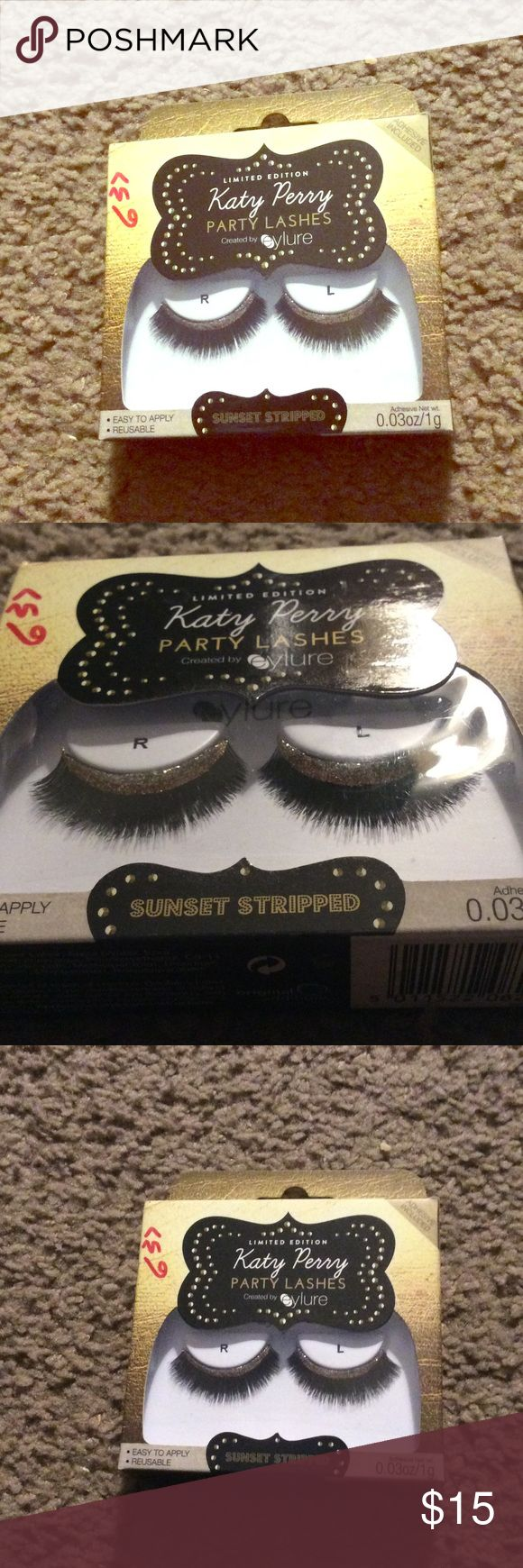 Katy Perry party gold false eyelashes new Brand new, never used. Katy Perry false fake eyelashes with gold glitter trim. Purchased from Ulta. Perfect for your next party, Halloween costume, or looking extra glam in the holiday season! Check out my closet, I offer a discount on bundles! eylure Makeup False Eyelashes