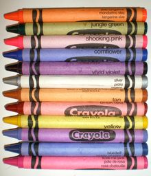 """Crayola crayon color chart...for when you're just not sure what color something is. Of course, the list also includes colors like """"Fuzzy Wuzzy"""" and """"Jazzberry Jam"""" but...I can live with that. ;)"""